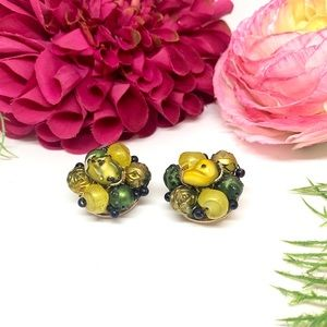 ⚜️VINTAGE Hong Kong Green & Yellow Clip Earrings